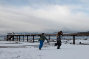 Snowball fight on the shores of Lake Tahoe