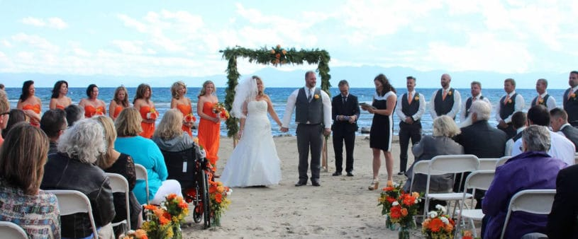 Happy couple on their wedding day on Franciscan's private beach