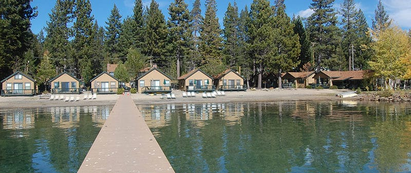 Lakefront Tahoe cabins and pier at Franciscan Lakeside Lodge