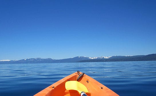 Kayaking the clear waters of Lake Tahoe